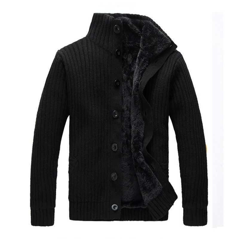 WIIVIP новый мужской брендовый зимний теплый мужской кардиган утепленный свитер пальто мужской вязаный толстый кардиган mz076