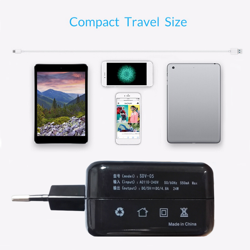 Sindvor 4 USB 5V 4.8A Smart Travel USB Charger Adapter Wall Portable EU Plug Mobile Phone Charger for iPhone X 8 Plus 7 Samsung