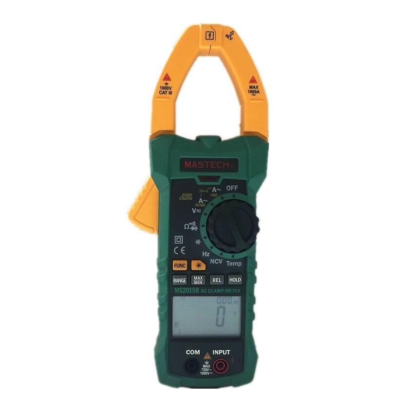 MASTECH MS2015B Digital Clamp Multimeter Auto Range 6000 Counts AC DC Tester True RMS temperature measurement
