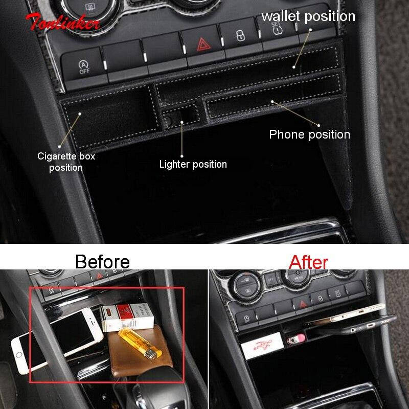 Tonlinker Couverture Autocollants pour SKODA KODIAQ 2017-18 Car Styling 1 pcs ABS En Plastique Intérieur Rangement Rangement Central de stockage boîte