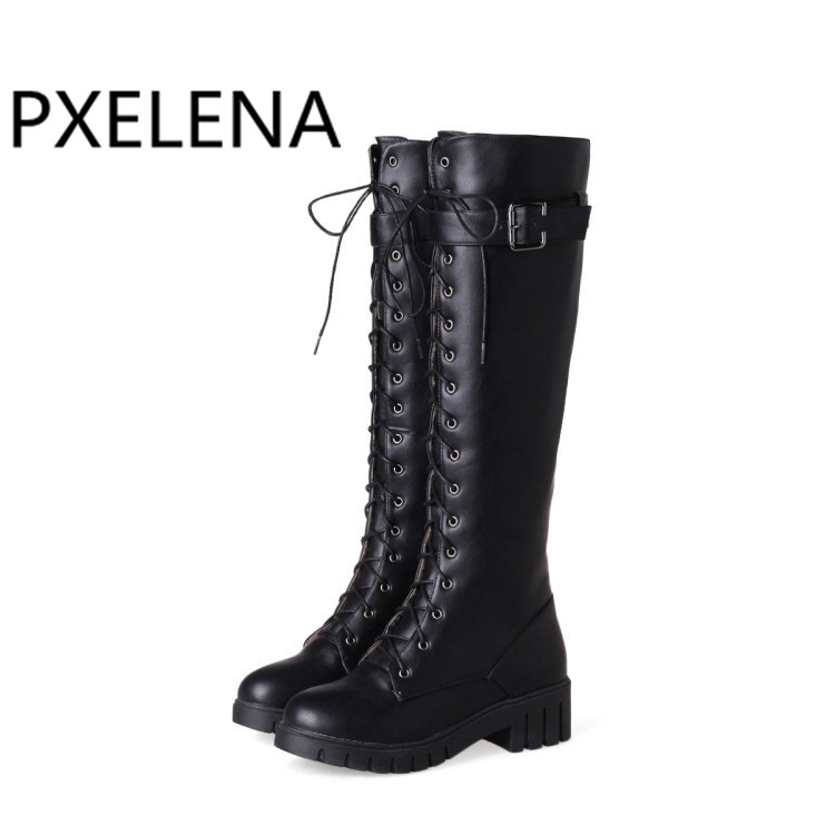 PXELENA Vintage Riding Knight Knee High Boots Women Buckle Lace Up Square  Med Heels Military Combat bd599315ef8e