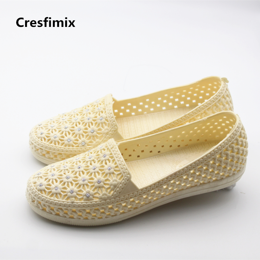 Cresfimix women fashion mesh breathable jelly flat shoes lady cute spring & summer flats female comfortable shoes zapatos mujer