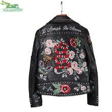 Fashion women 13 embroidery locomotive leather jacket casual handmade 200 rivet spliced coat Flowers bird pattern outwear QW407