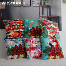 45Cmx45Cm Led Fashion Merry Christmas Cushion CoverSimple Flower Colorfull Pillow case Plant Home Bed Decorative Case