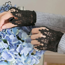 AOMU 1 Pair Steampunk Crochet Sleeve Wrist Cuff Retro Black lace gloves Costume Accessory 2017
