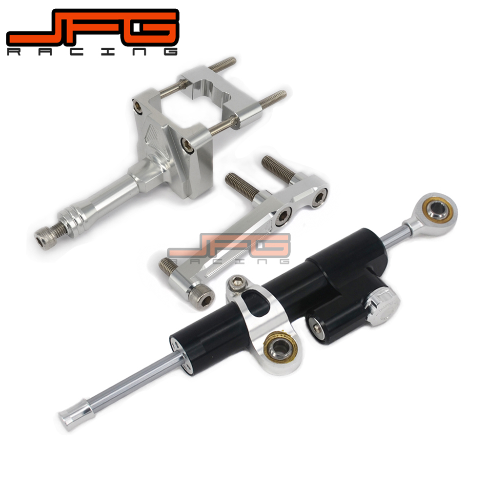 CNC Steering Damper Stabilizer Linear Reversed Safety Control & Adapter Bracket For KAWASAKI NINJA250 EX250 2008 2009 2010 11 12 cnc steering damper stabilizer linear reversed safety control & adapter bracket for honda cb400 cb 400 vtec 1999 2000 2001 2012