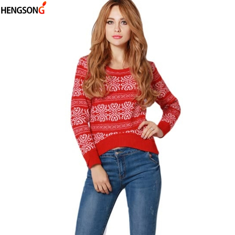 HEGNSONG Women Printed knitted sweater Women brand pullovers knitwear Autumn Spring jumper pull femme 2018 New 652988