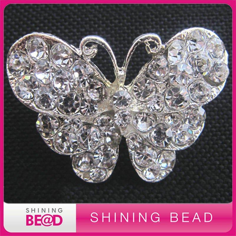 ed830eee364a Envío libre + alta calidad + 30 40mm + Classic rhinestone de la mariposa  broche para la boda