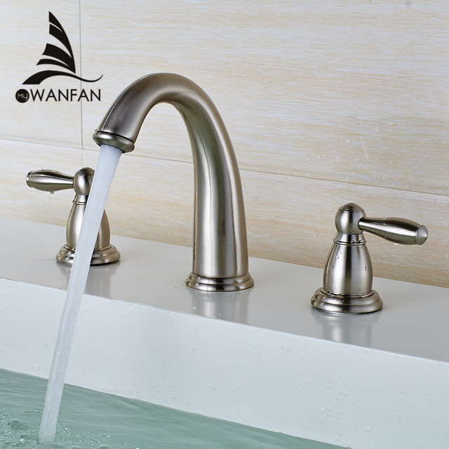 Basin Faucets Brass Brushed Nickel 3 Pcs Bathroom Sink Faucet Double ...