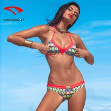 SWIMMART bikini Brazil swimsuit print double-sided swimwear women push uphigh waist bathing suit swim