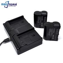 2x EN-EL15 EN-EL15a Battery & 1x Dual Charger (3-In-1) for Nikon Camera D600 D610 D750 D800 D800E D810 D810A D7100 D7200 1 V1