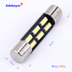 100X Xenon White C5W Festoon bulb T6.3 28MM 4014 SMD 6 LED Automobile Interior Light Car lamp Dome License Plate car styling