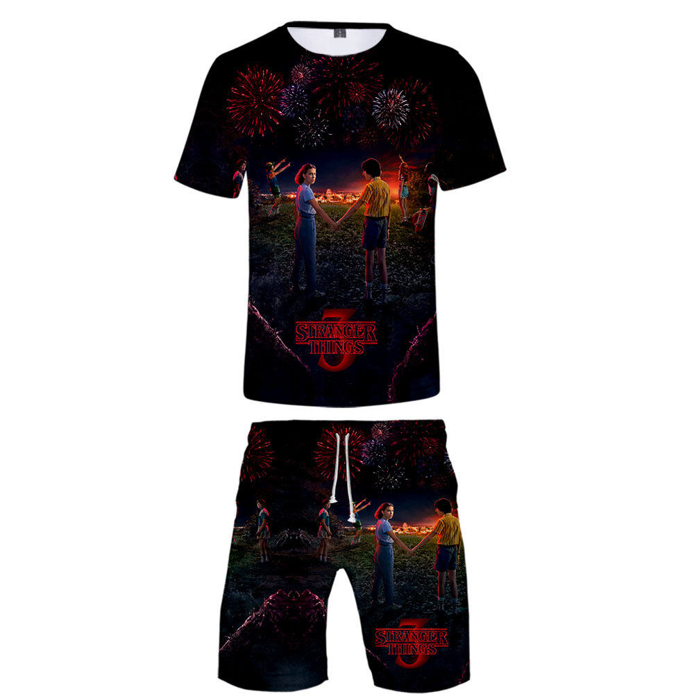 2019 Stranger Things Two Piece Set Tshirt And Shorts Harajuku Men Stranger Things T Shirt Streetwear Harajuku Short Sleeve