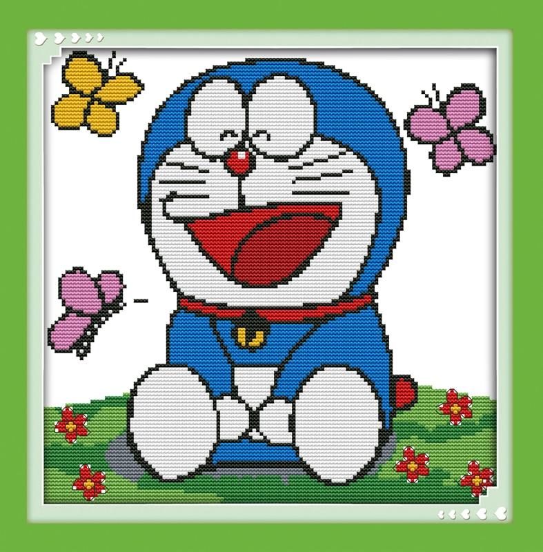 Happy Cat Doraemon 11CT Printed 14CT DMC Cross Stitch Kits DIY Chinese Cotton Cross-stitch Set Counted Embroidery Needlework