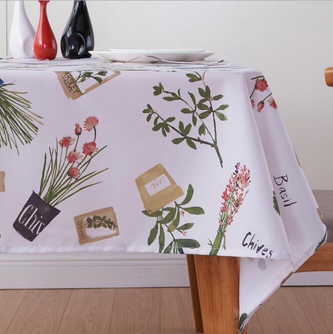 Fyjafon Thick Table Cloth Waterproof Oil Proof Tablecloth Polyester Pastoral Printed Table Cover 100*100/130*180/140*200/140*220