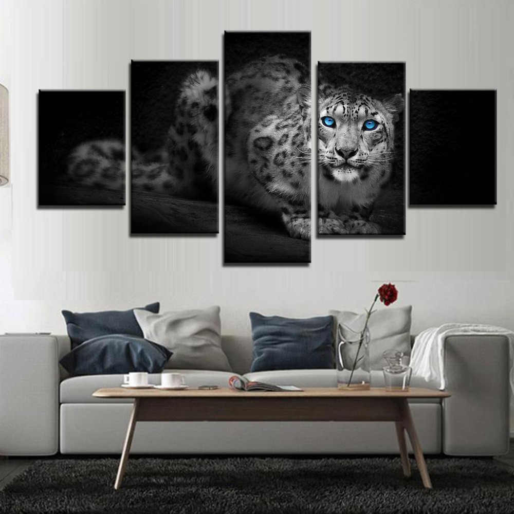 HD Wall Home Decoration Modern Paintings Printed Framework Modular Posters 5 Panel Animal Leopard Tableau Art Pictures Canvas