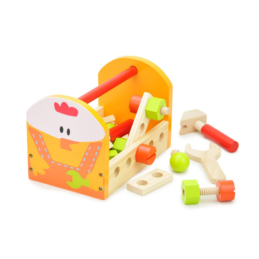 Chanycore Baby Learning Educational Wooden Toys Blocks Screws Nuts Assemblage Geometric Shape Chicken Toolbox tbr Gifts 4218 15 holes intelligence box wood geometric blocks baby learning assemblage toys
