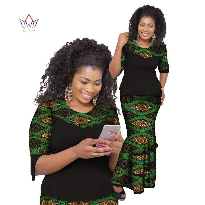 2019 Bazin Riche jupe africaine définit cire imprimer deux pièces ensemble afrique vêtements pour femmes traditionnel africain haut et jupe WY793
