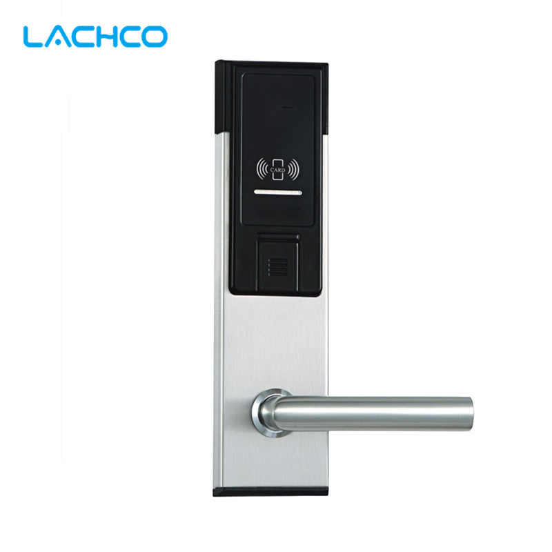 LACHCO Electronic RFID Card Door Lock with Key For Office Apartment Hotel Home Latch with Deadbolt  L16021BS lachco card hotel lock digital smart electronic rfid card for office apartment hotel room home latch with deadbolt l16058bs