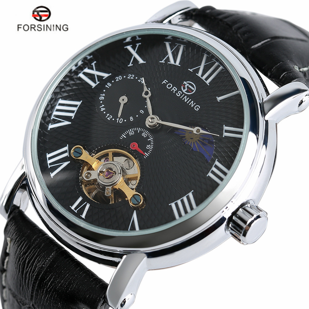 Forsining Automatic Mechanical Wrist Watch Men Leather Band Dress Mens Watches Army Black/White Clock Gift 2017 New Arrival forsining date display automatic mechanical watch men business leather band watches modern gift dress classic analog clock box