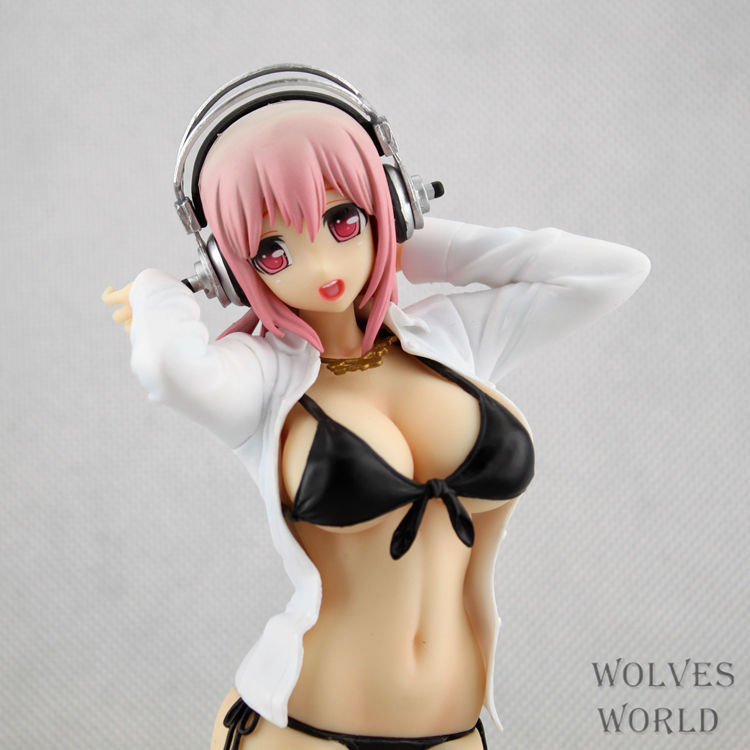 Pack In Retail Box 26cm Super Sonico sexy Anime Action Figures PVC brinquedos Collection Figures toys Men Girls christmas gift hot sale 26cm anime shanks one piece action figures anime pvc brinquedos collection figures toys with retail box free shipping