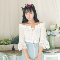 Preppy Casual Style Sweet Girl Shirts Solid Color Loose Slash Neck Women Shirt Blouse Harajuku Cute
