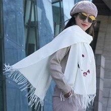 Sevimli küçük sincap büyük şal 200*70 kaşmir shaw kaşmir atkılar püskül ile bayan kış sıcak eşarp kadın açık havada malzemeleri