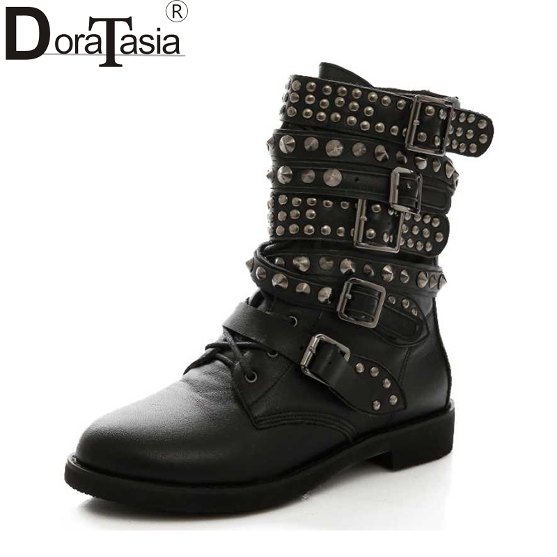 DoraTasia Big Size 35 43 Women Cowboy Boots Punk Style Rivets Shoes Woman Two Kind Outside