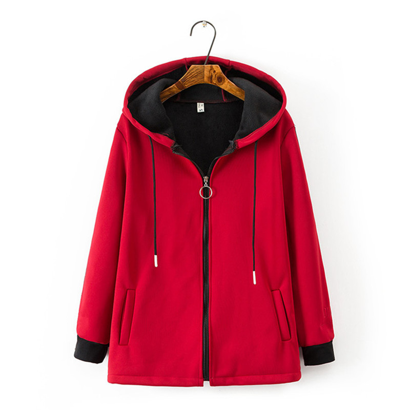 Fashion Plus size 4XL Autumn Winter Compound suede Jackets Women Hooded Short Coats Flocking Outerwear Female Casual Tops G315