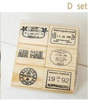 6pcs/set Top Quality Beautiful Design Vintage Travel Wooden Rubber Stamp Scrapbooking Craft Diary Postcard DIY Set Decor D Style