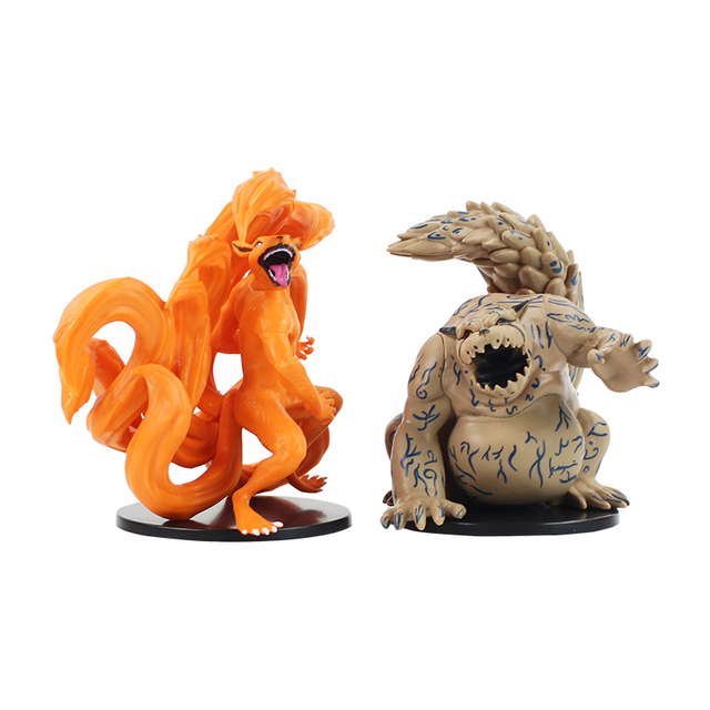 2pcs/Lot Naruto Figure Toy Tailed Beast Shukaku Kurama Kyuubi Animal Model Dolls Children Gift