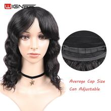 Wignee Loose Wave Short Human Hair Wigs With Free Bangs For Black/White Women Remy India Hair Deep Curly 12/14/16/18 Inch Wig high quality women long curly black wigs with bangs free cap