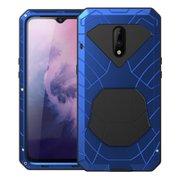 For Oneplus 7 Hybrid Armor Aluminum Metal Shockproof Bumper Frame Case Soft Rubber Silicone Military Heavy Duty Hard Case