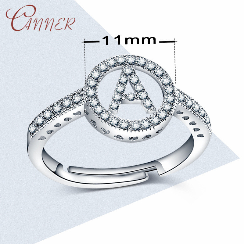CANNER Classic Wedding Rings for Women Rhinestone Initial Letter Ring Adjustable Alphabet Silver Crystal Rings Fashion Jewelry in Engagement Rings from Jewelry Accessories
