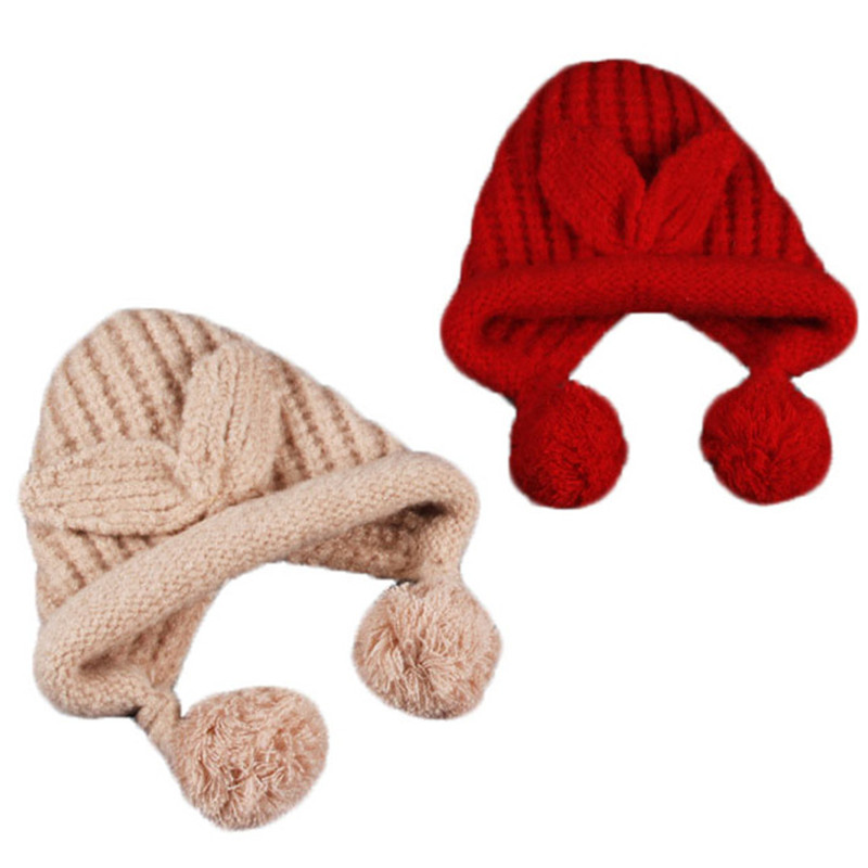 Children Knitted Rabbit Ears Curling Hat Baby Winter Cotton Warm Caps Fashion Double Hairball Hats Boys Girls Cute Warm Beanies baby hat cute the high quality knitting wool hat children winter warm knitted cap girls photography headwear caps