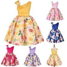 Kids Girls Sleeveless Off Shoulder Bowknot Flower Printing Princess Dress for Wedding Party