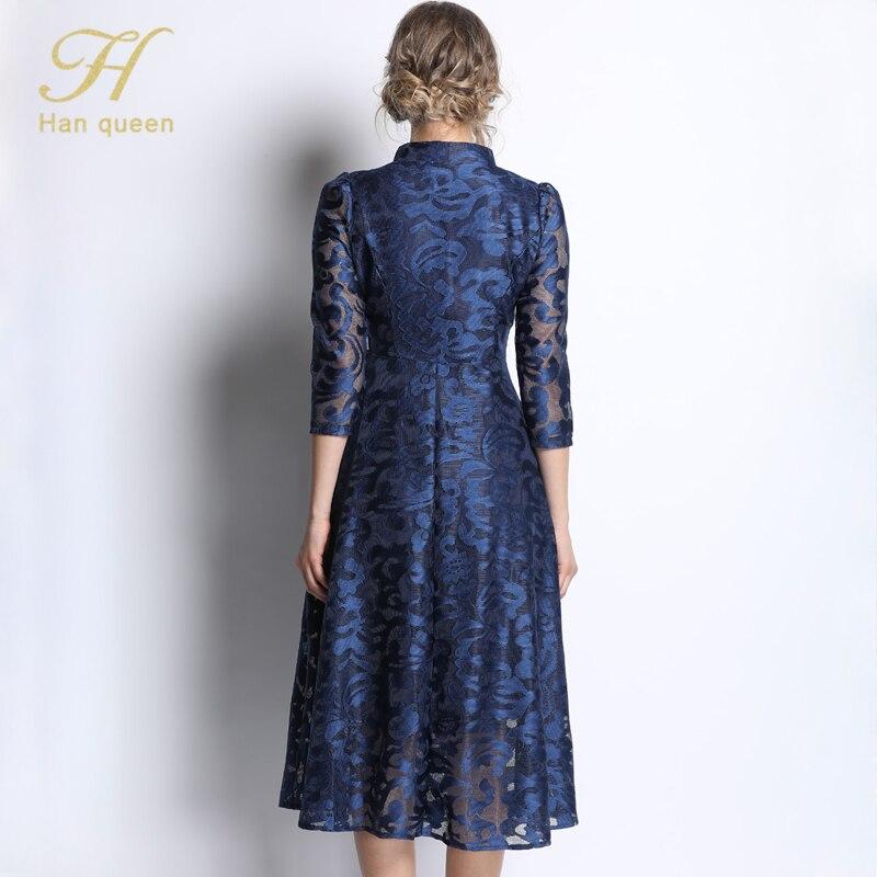 Image 5 - H han queen Vintage Blue/Red/Black Lace Dress Women Elegant A  line Femme Single breasted Long Dresses Hollow Out Casual  VestidosDresses