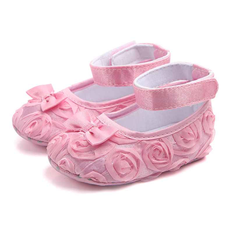 Adorable Lace Flower Butterfly-knot Soft Sole Hook&Loop Infant Newborn Baby Girl Shoes Princess Shoes