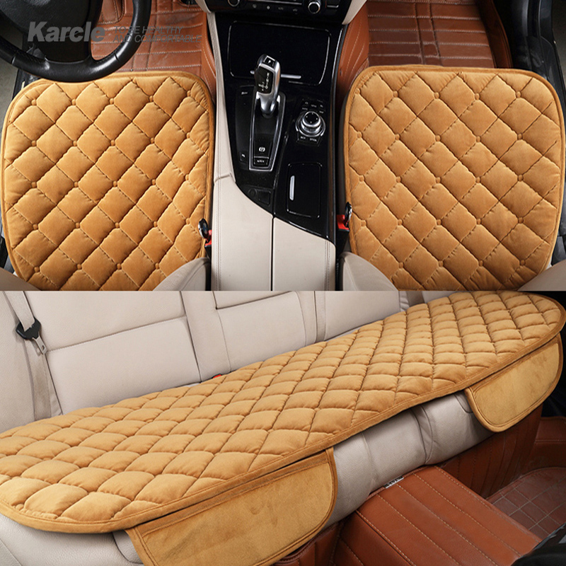Karcle 3PCS Velvet Car Seat Covers Set Universal Breathable Plush Seat Prot..