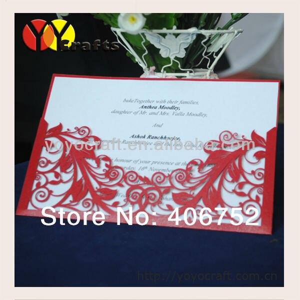 customized beautiful laser cut unique simple wedding invitation
