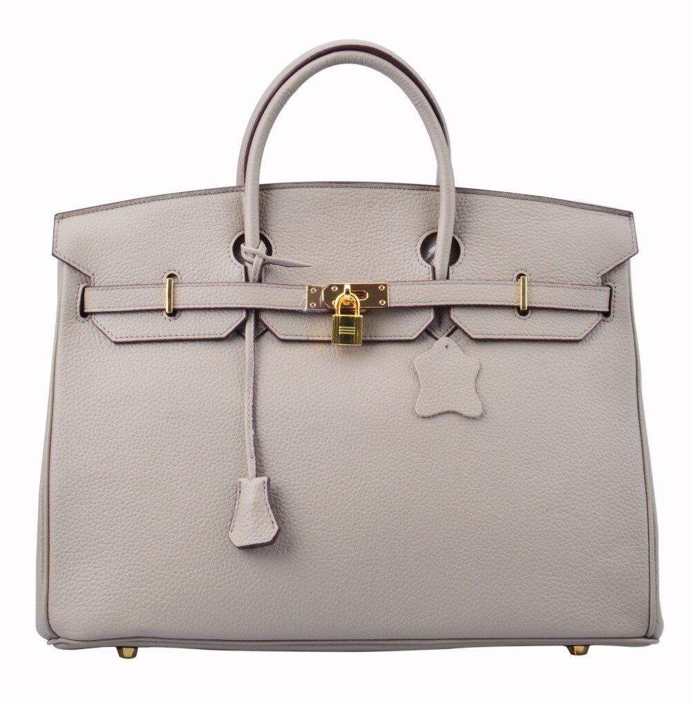 2dfe8ece7da Ainifeel Women s Padlock Oversized 40cm Genuine Leather Top Handle Handbags    Purse Women s Office Bag-in Top-Handle Bags from Luggage   Bags on ...