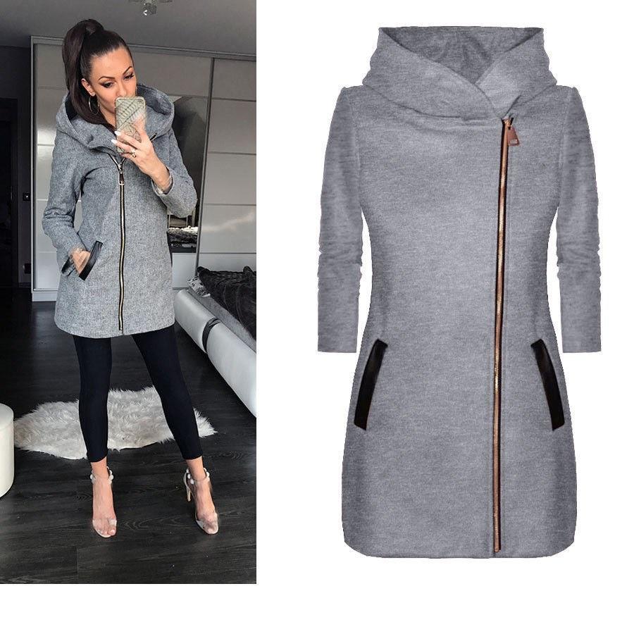 Autumn Women Hooded Long Sleeve Basic Jacket Full Outwear Pocket Zipper Warm Jacket