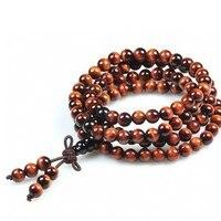 AAA Grade Oeil de Tigre Tibétain Mala Tibétain 108 Perles Tibétain Prière Mala Perles Bouddhiste Malas