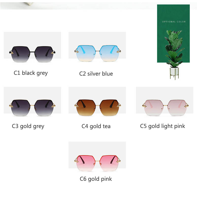 Women Sunglasses Brand Designer Square Metal Eyewear Honey Bee AccessoriesGradient Colors Lenses Driving Goggles UV400 in Women 39 s Sunglasses from Apparel Accessories