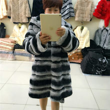 2017 new women s fur coat Rex Rabbit hair straight type full hat long sleeves British