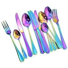 16 قطعة مجموعة أدوات المائدة الملونة رومانسية عشاء مجموعة طقم ملاعق قوس قزح