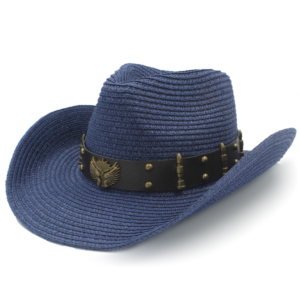 Straw Women Men Western Cowboy Hats For Summer Gentleman Outdoor Summer Sombrero Hombre Beach Sun Cap Size 56-58CM