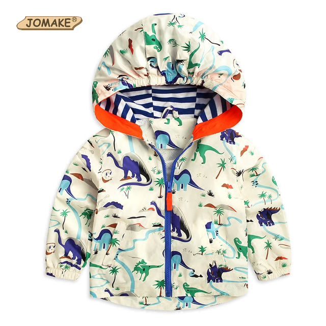Spring Hooded Children Outerwear & Coats Cartoon Dinosaur Boy Windbreaker Jacket Long Sleeve Gentleman Boys Jackets Kids Clothes
