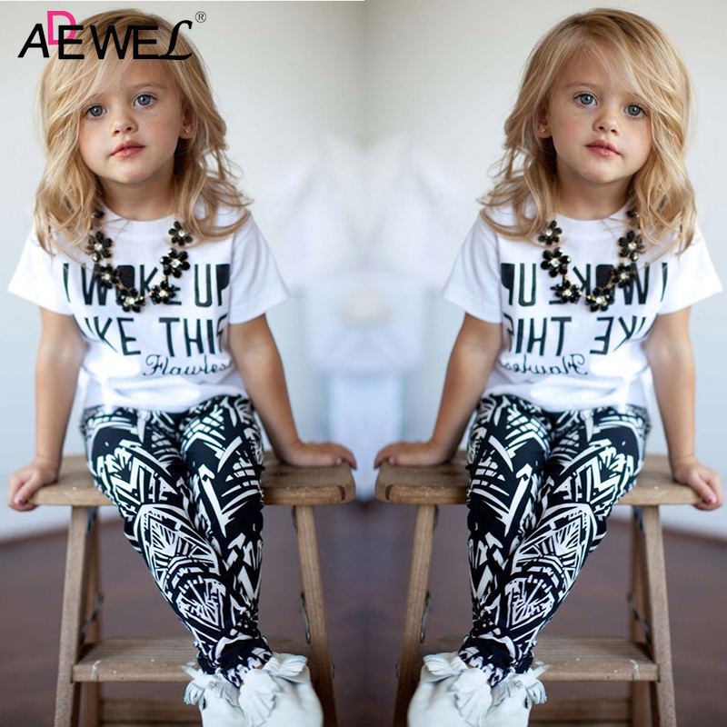 1 2 3 4 5 6 7 8 Year Girls Clothes Letter Printed T-shirts Leggings 2pcs Children Clothing Set Cotton Casual Baby Kids Suits girls clothes cotton casual children clothing set 2018 new long sleeve shirts striped leggings baby kids suits 3 4 5 6 7 8 years