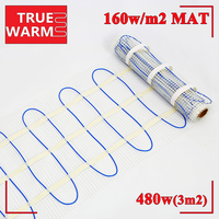 3.0sqm 480W Twin Conductor Electric Underfloor Heating Mats For Warm Floor, Wholesale P160 3.0